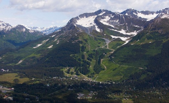 Aerial View Of Mount Alyeska And The Town Of Girdwood In Southcentral Alaska, Summer